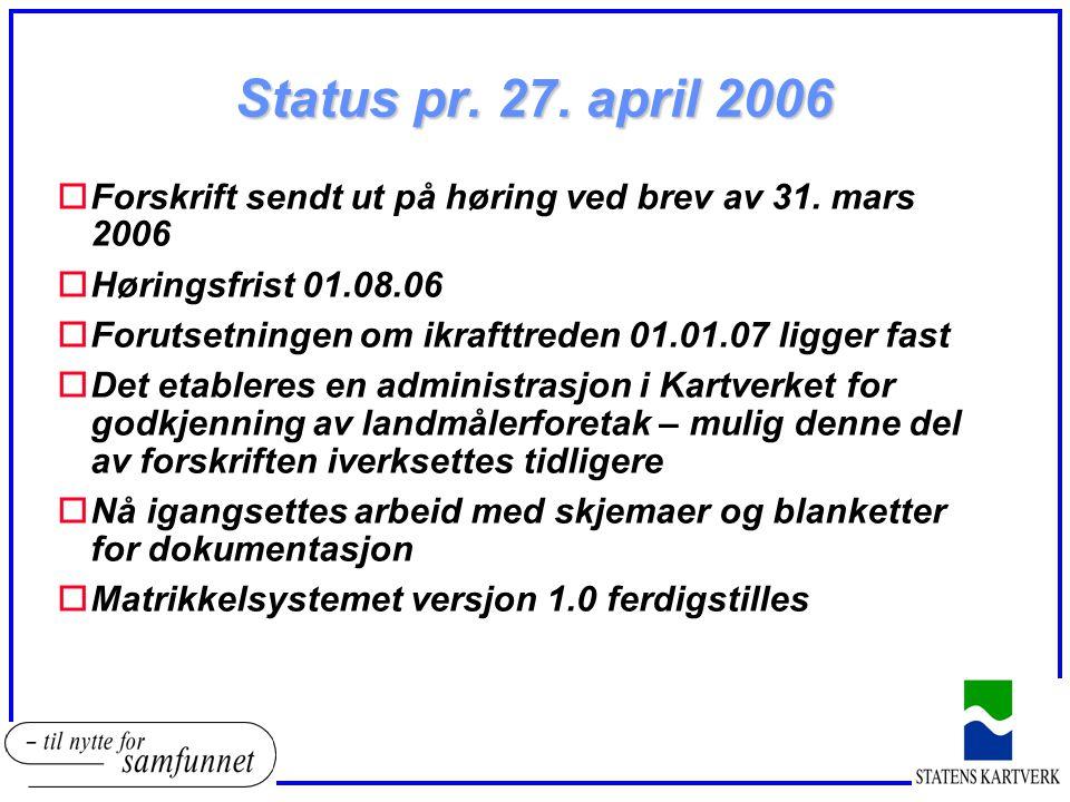 Status pr. 27. april 2006 oForskrift sendt ut på høring ved brev av 31. mars 2006 oHøringsfrist 01.08.06 oForutsetningen om ikrafttreden 01.01.07 ligg