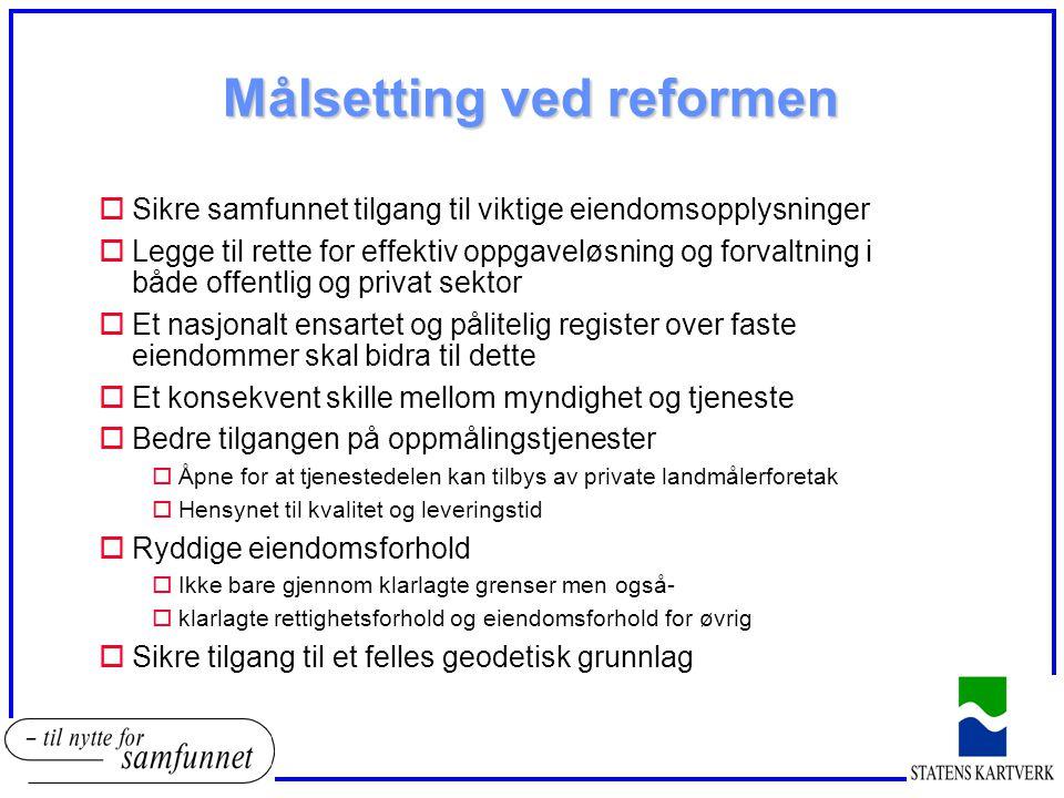 Målsetting ved reformen oSikre samfunnet tilgang til viktige eiendomsopplysninger oLegge til rette for effektiv oppgaveløsning og forvaltning i både o