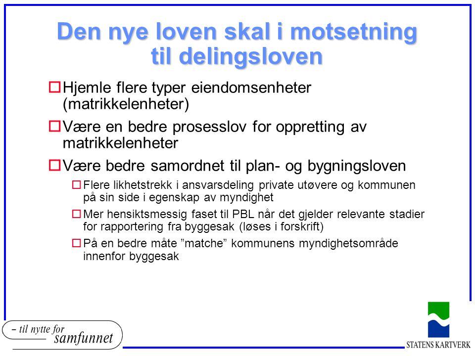 Den nye loven skal i motsetning til delingsloven oHjemle flere typer eiendomsenheter (matrikkelenheter) oVære en bedre prosesslov for oppretting av ma