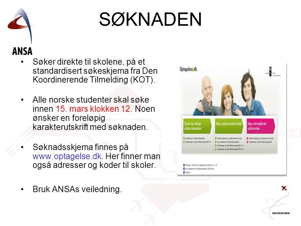 •Søker direkte til skolene, på et standardisert søkeskjema fra Den Koordinerende Tilmelding (KOT). •Alle norske studenter skal søke innen 15. mars klo