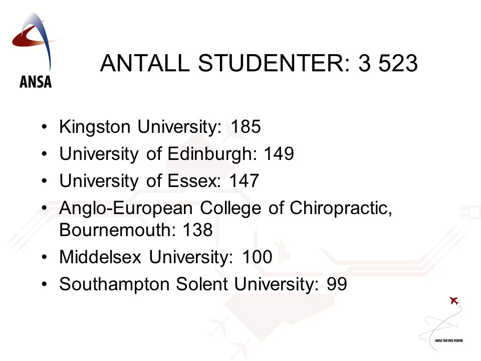 ANTALL STUDENTER: 3 523 •Kingston University: 185 •University of Edinburgh: 149 •University of Essex: 147 •Anglo-European College of Chiropractic, Bournemouth: 138 •Middelsex University: 100 •Southampton Solent University: 99