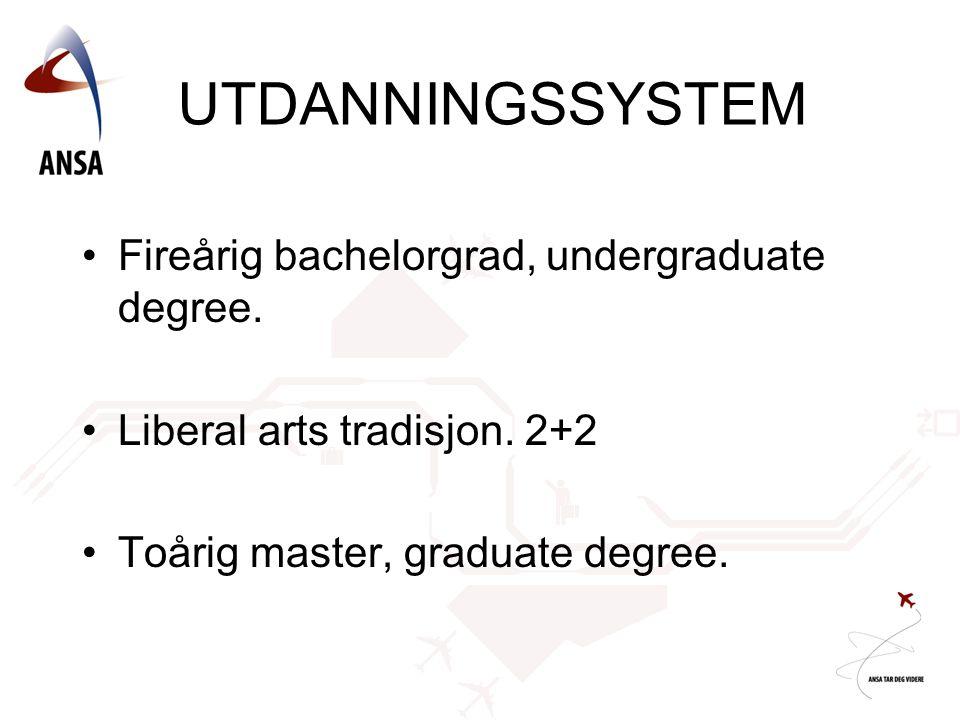 UTDANNINGSSYSTEM •Fireårig bachelorgrad, undergraduate degree. •Liberal arts tradisjon. 2+2 •Toårig master, graduate degree.
