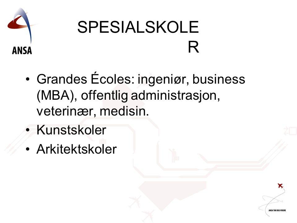 SPESIALSKOLE R •Grandes Écoles: ingeniør, business (MBA), offentlig administrasjon, veterinær, medisin. •Kunstskoler •Arkitektskoler
