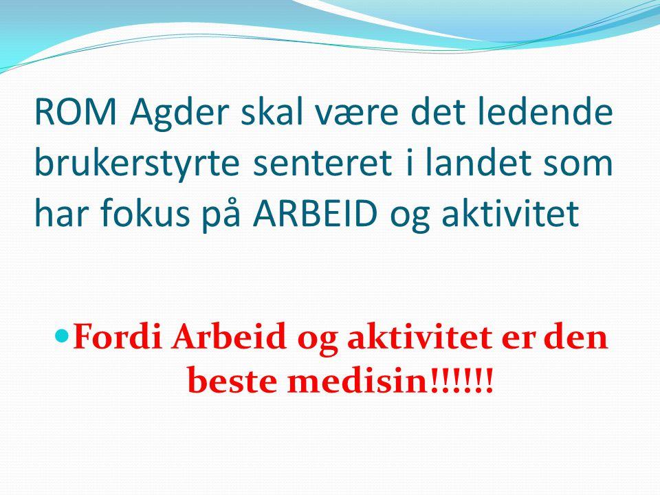 ROM Agder skal være det ledende brukerstyrte senteret i landet som har fokus på ARBEID og aktivitet  Fordi Arbeid og aktivitet er den beste medisin!!!!!!