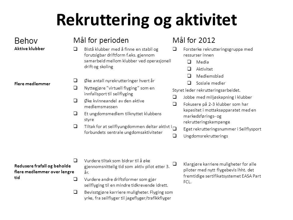 Rekruttering og aktivitet Mål for perioden  Bistå klubber med å finne en stabil og forutsigbar driftform f.eks.