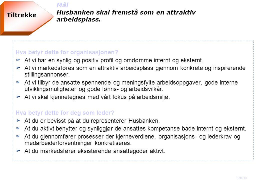 Side 10 Tiltrekke Mål Husbanken skal fremstå som en attraktiv arbeidsplass. Hva betyr dette for organisasjonen? F At vi har en synlig og positiv profi