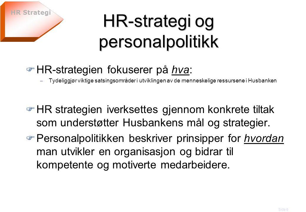 Side 6 HR-strategi og personalpolitikk F HR-strategien fokuserer på hva: – Tydeliggjør viktige satsingsområder i utviklingen av de menneskelige ressur