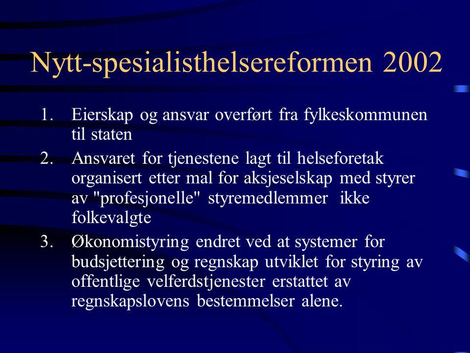 Nytt-spesialisthelsereformen 2002 1.Eierskap og ansvar overført fra fylkeskommunen til staten 2.Ansvaret for tjenestene lagt til helseforetak organise