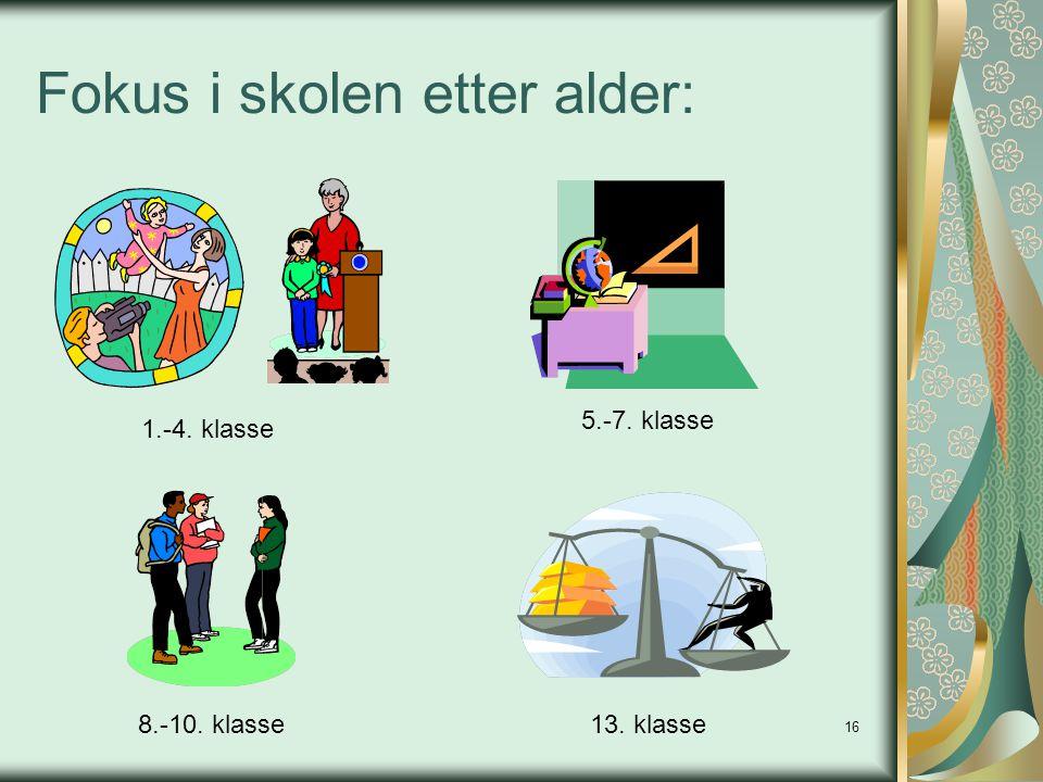 16 Fokus i skolen etter alder: 1.-4. klasse 8.-10. klasse 5.-7. klasse 13. klasse