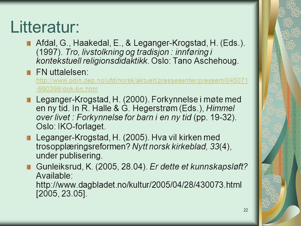 22 Litteratur: Afdal, G., Haakedal, E., & Leganger-Krogstad, H. (Eds.). (1997). Tro, livstolkning og tradisjon : innføring i kontekstuell religionsdid