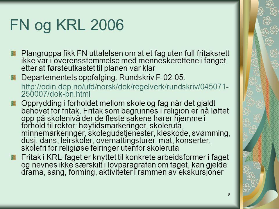 8 FN og KRL 2006 Plangruppa fikk FN uttalelsen om at et fag uten full fritaksrett ikke var i overensstemmelse med menneskerettene i fanget etter at fø