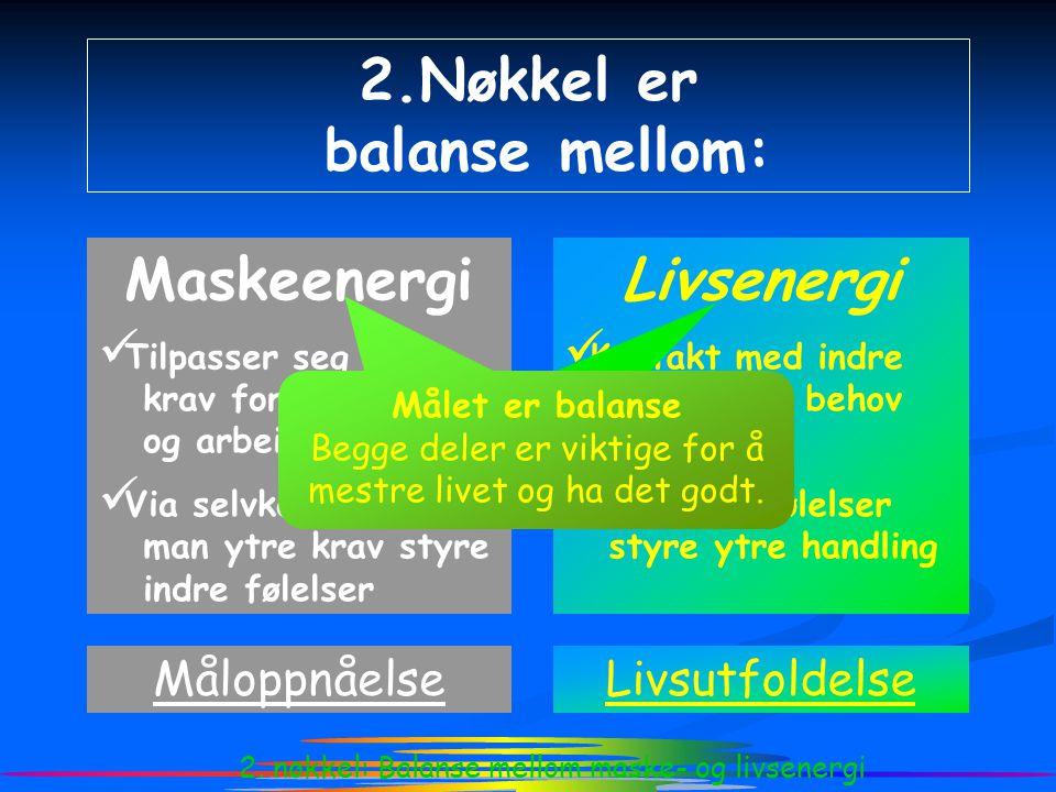 2. nøkkel: Balanse mellom maske- og livsenergi 2.Nøkkel er balanse mellom: Maskeenergi  Tilpasser seg ytre krav for oppførsel og arbeidsinnsats  Via