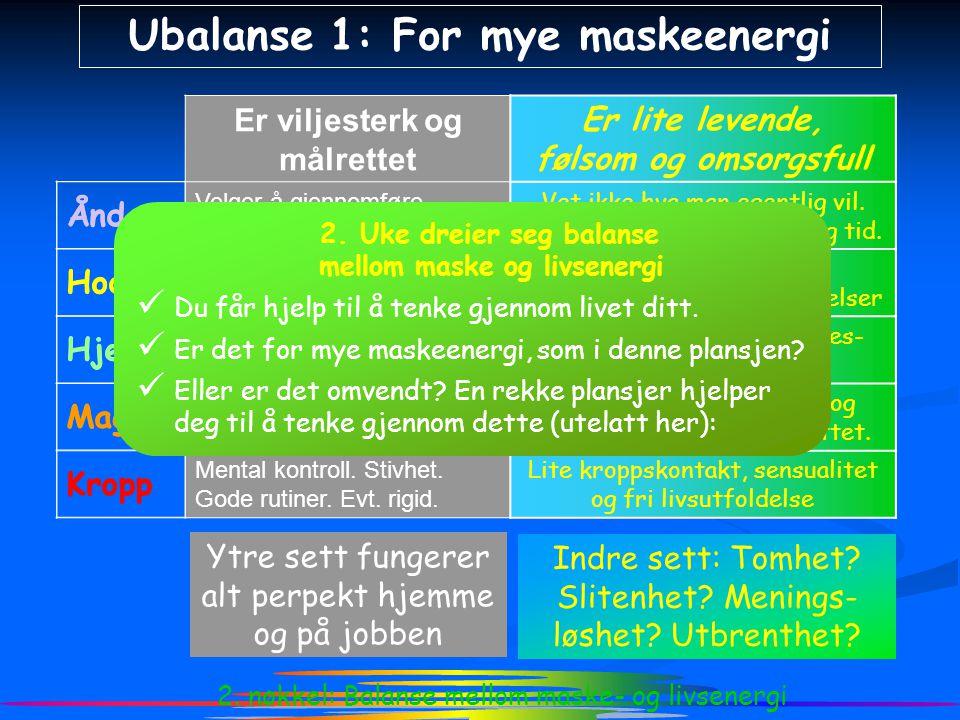 2. nøkkel: Balanse mellom maske- og livsenergi Ubalanse 1: For mye maskeenergi Er viljesterk og målrettet Ånd Velger å gjennomføre planen for nå mål i