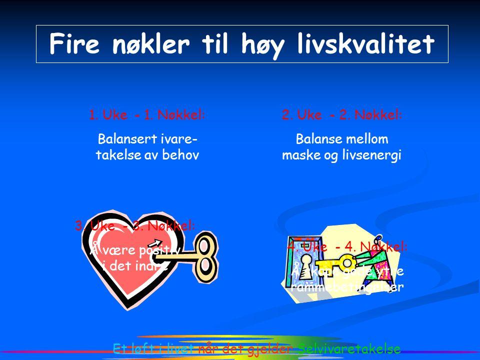 2. Uke - 2. Nøkkel: Balanse mellom maske og livsenergi Et løft i livet når det gjelder Selvivaretakelse Fire nøkler til høy livskvalitet 1. Uke - 1. N