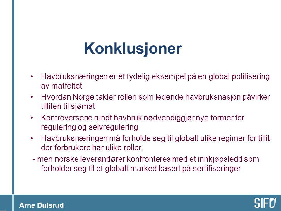 Arne Dulsrud Konklusjoner •Havbruksnæringen er et tydelig eksempel på en global politisering av matfeltet •Hvordan Norge takler rollen som ledende hav
