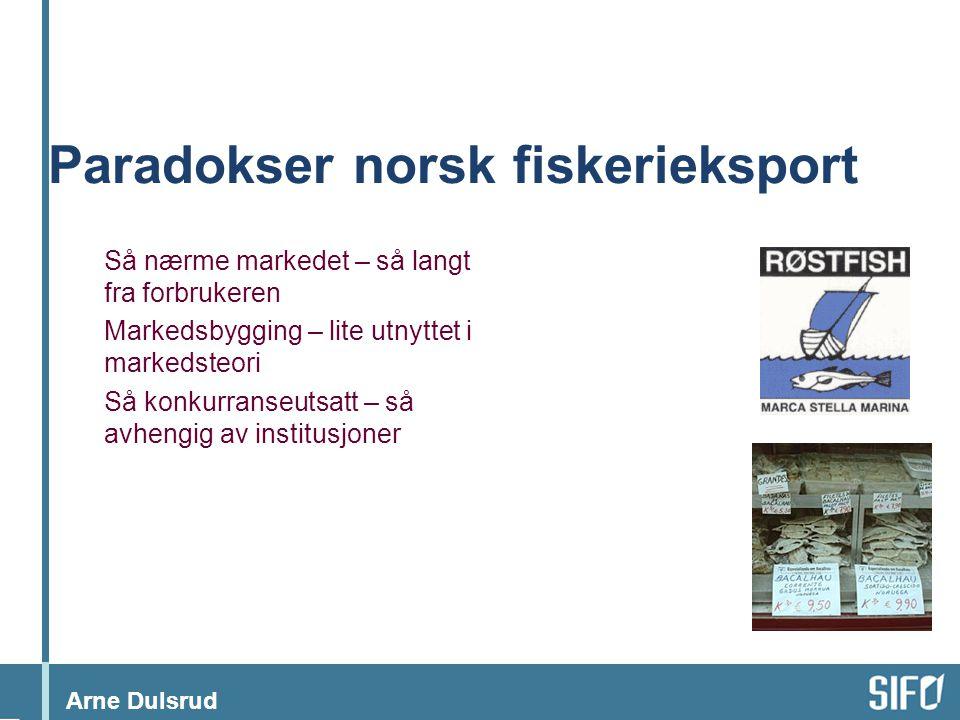 Arne Dulsrud Paradokser norsk fiskerieksport Så nærme markedet – så langt fra forbrukeren Markedsbygging – lite utnyttet i markedsteori Så konkurranseutsatt – så avhengig av institusjoner