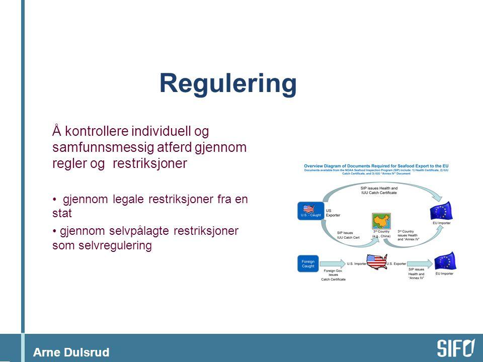 Arne Dulsrud Regulering Å kontrollere individuell og samfunnsmessig atferd gjennom regler og restriksjoner • gjennom legale restriksjoner fra en stat