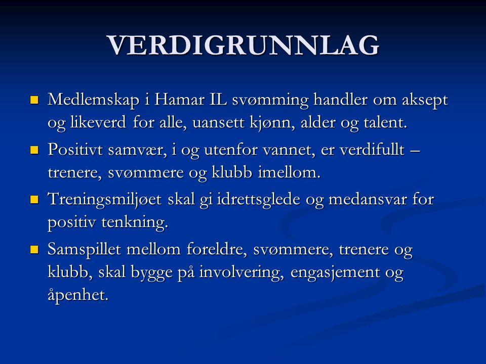 MÅLSETNINGER  Sportslig  Målsetningen er svømming på topplan, samt å gjøre det mulig for klubbens svømmere å svømme på alle nivå.