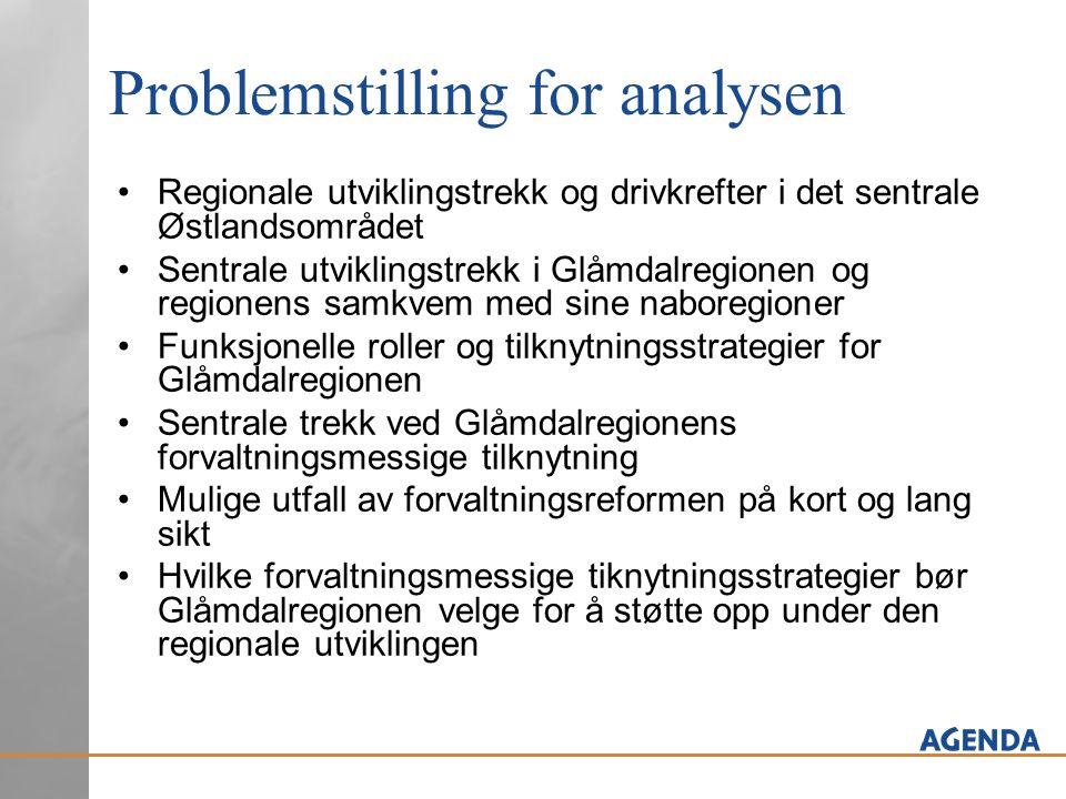 Problemstilling for analysen •Regionale utviklingstrekk og drivkrefter i det sentrale Østlandsområdet •Sentrale utviklingstrekk i Glåmdalregionen og r
