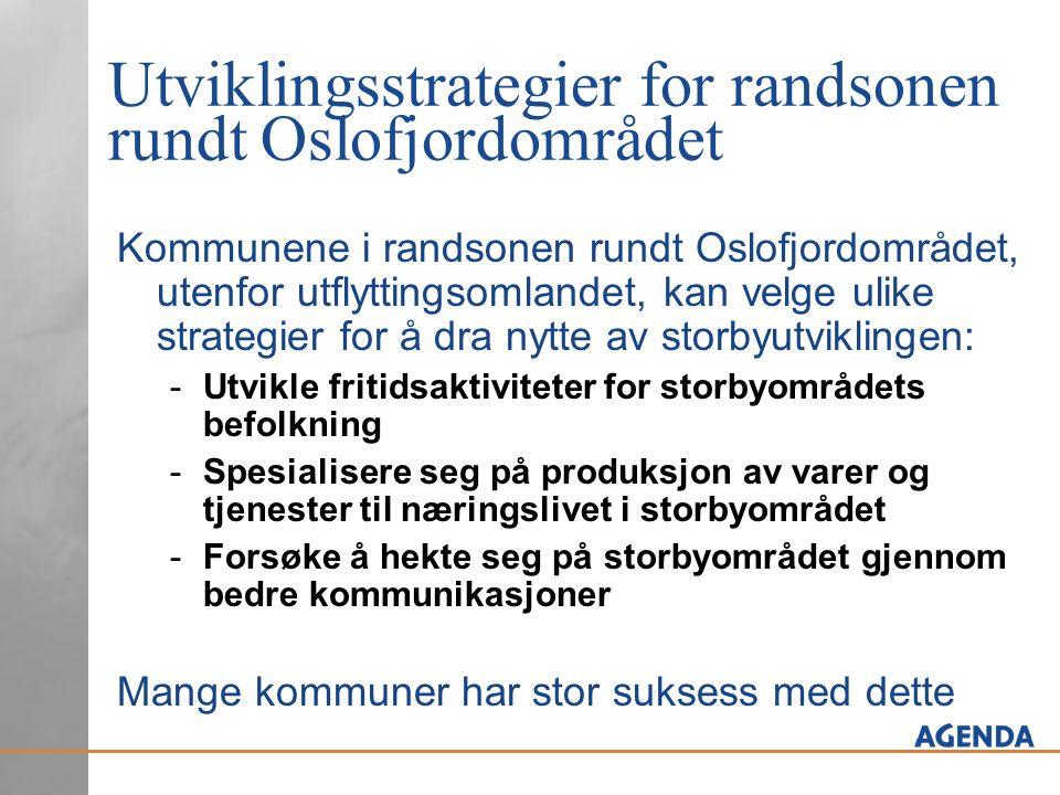 Utviklingsstrategier for randsonen rundt Oslofjordområdet Kommunene i randsonen rundt Oslofjordområdet, utenfor utflyttingsomlandet, kan velge ulike s