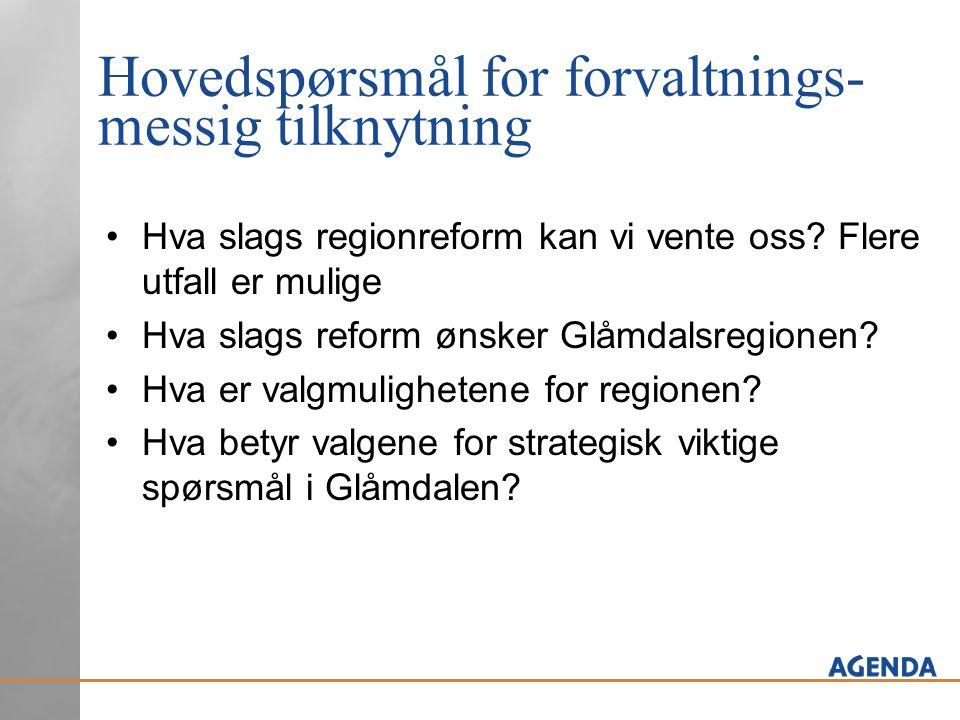 Hovedspørsmål for forvaltnings- messig tilknytning •Hva slags regionreform kan vi vente oss? Flere utfall er mulige •Hva slags reform ønsker Glåmdalsr