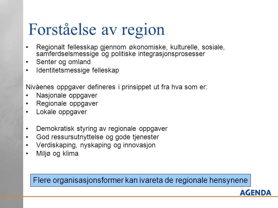 Forståelse av region •Regionalt fellesskap gjennom økonomiske, kulturelle, sosiale, samferdselsmessige og politiske integrasjonsprosesser •Senter og o