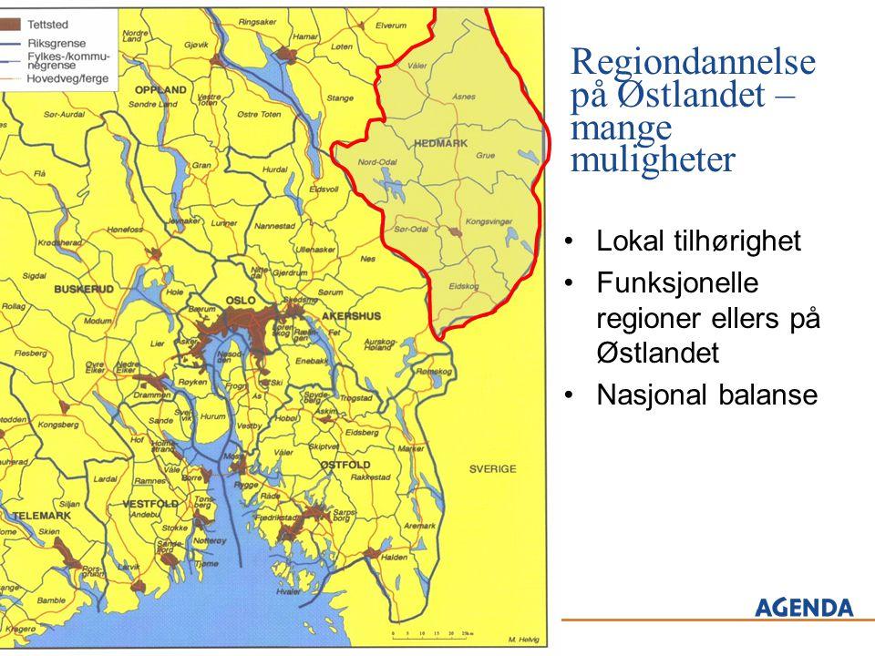Regiondannelse på Østlandet – mange muligheter •Lokal tilhørighet •Funksjonelle regioner ellers på Østlandet •Nasjonal balanse