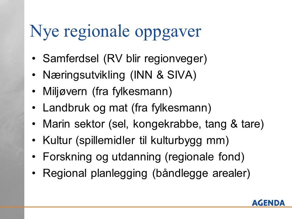 Nye regionale oppgaver •Samferdsel (RV blir regionveger) •Næringsutvikling (INN & SIVA) •Miljøvern (fra fylkesmann) •Landbruk og mat (fra fylkesmann)