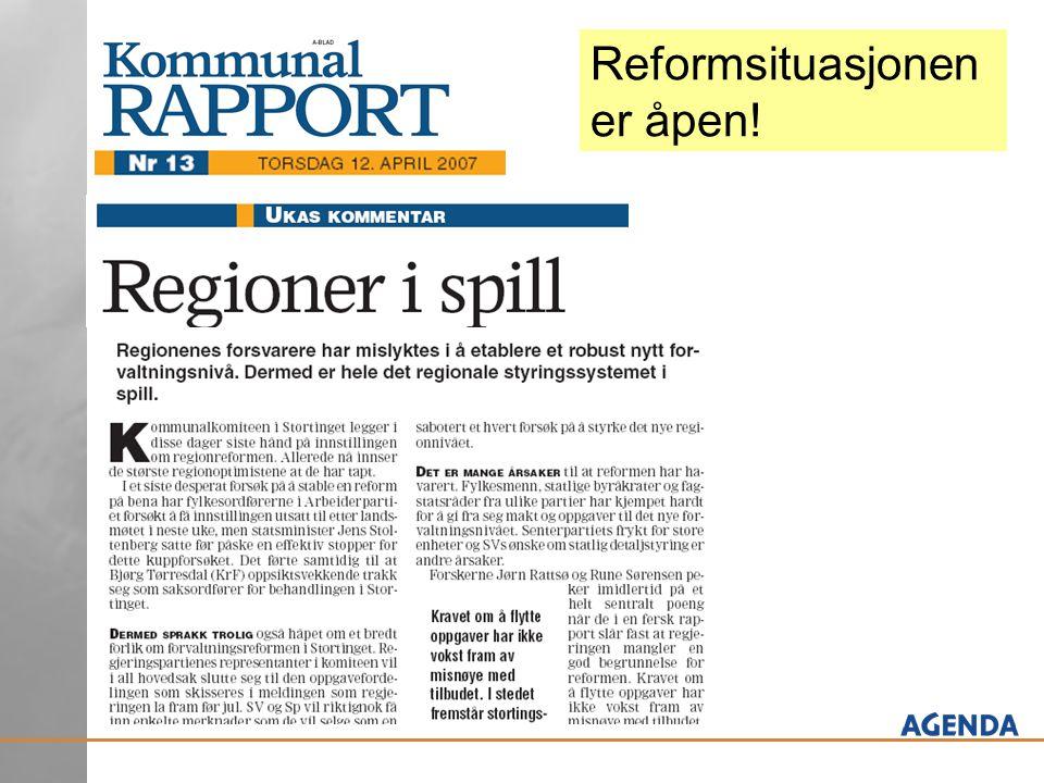 Reformsituasjonen er åpen!