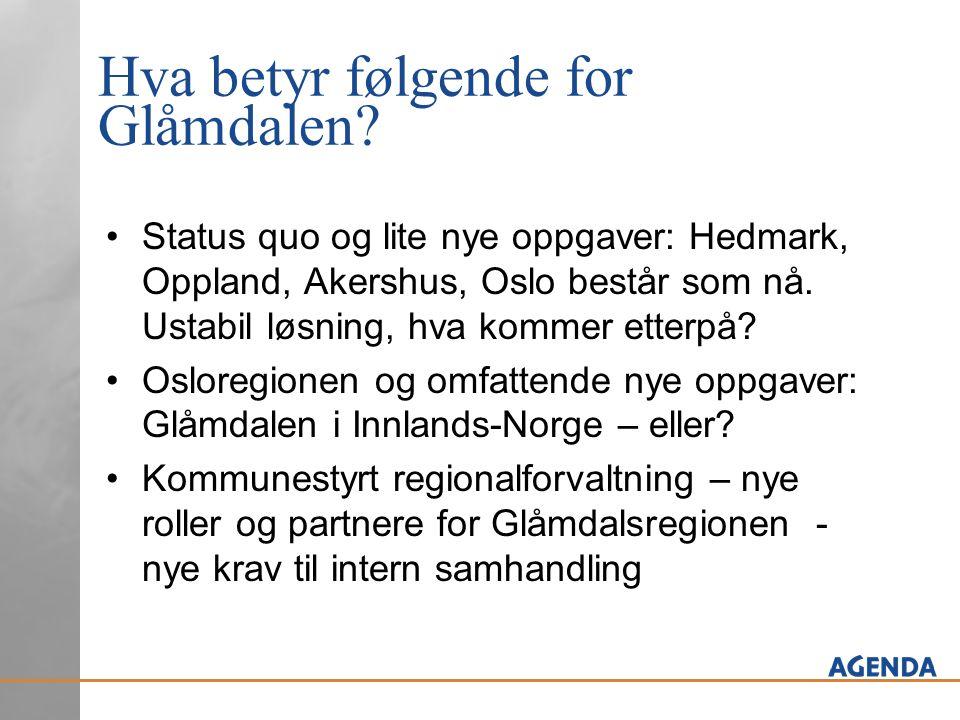 Hva betyr følgende for Glåmdalen? •Status quo og lite nye oppgaver: Hedmark, Oppland, Akershus, Oslo består som nå. Ustabil løsning, hva kommer etterp