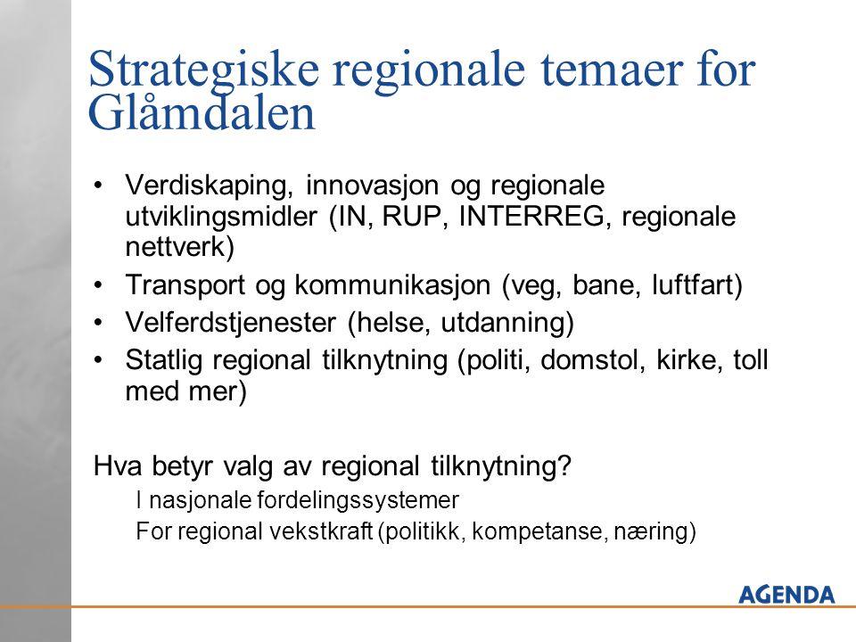 Strategiske regionale temaer for Glåmdalen •Verdiskaping, innovasjon og regionale utviklingsmidler (IN, RUP, INTERREG, regionale nettverk) •Transport