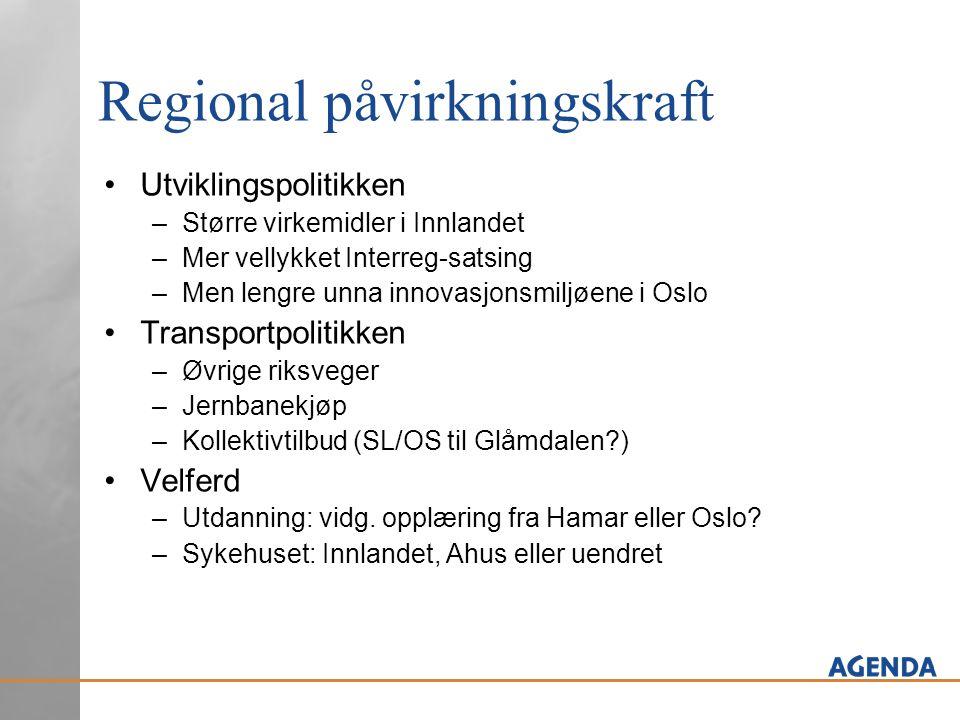 Regional påvirkningskraft •Utviklingspolitikken –Større virkemidler i Innlandet –Mer vellykket Interreg-satsing –Men lengre unna innovasjonsmiljøene i