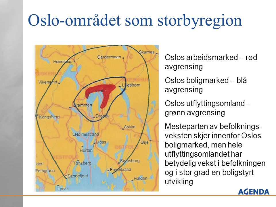 Oslo-området som storbyregion Oslos arbeidsmarked – rød avgrensing Oslos boligmarked – blå avgrensing Oslos utflyttingsomland – grønn avgrensing Meste