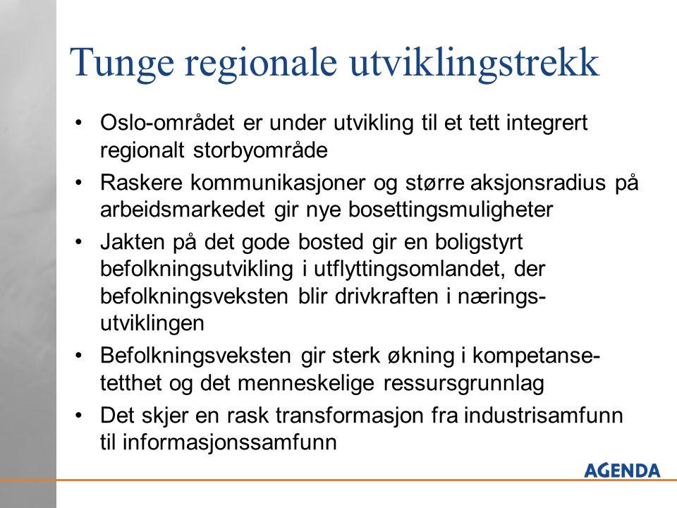 Tunge regionale utviklingstrekk •Oslo-området er under utvikling til et tett integrert regionalt storbyområde •Raskere kommunikasjoner og større aksjo