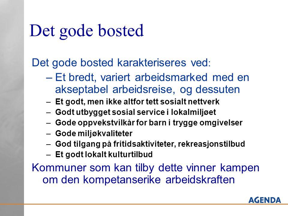 Det gode bosted Det gode bosted karakteriseres ved : –Et bredt, variert arbeidsmarked med en akseptabel arbeidsreise, og dessuten –Et godt, men ikke a