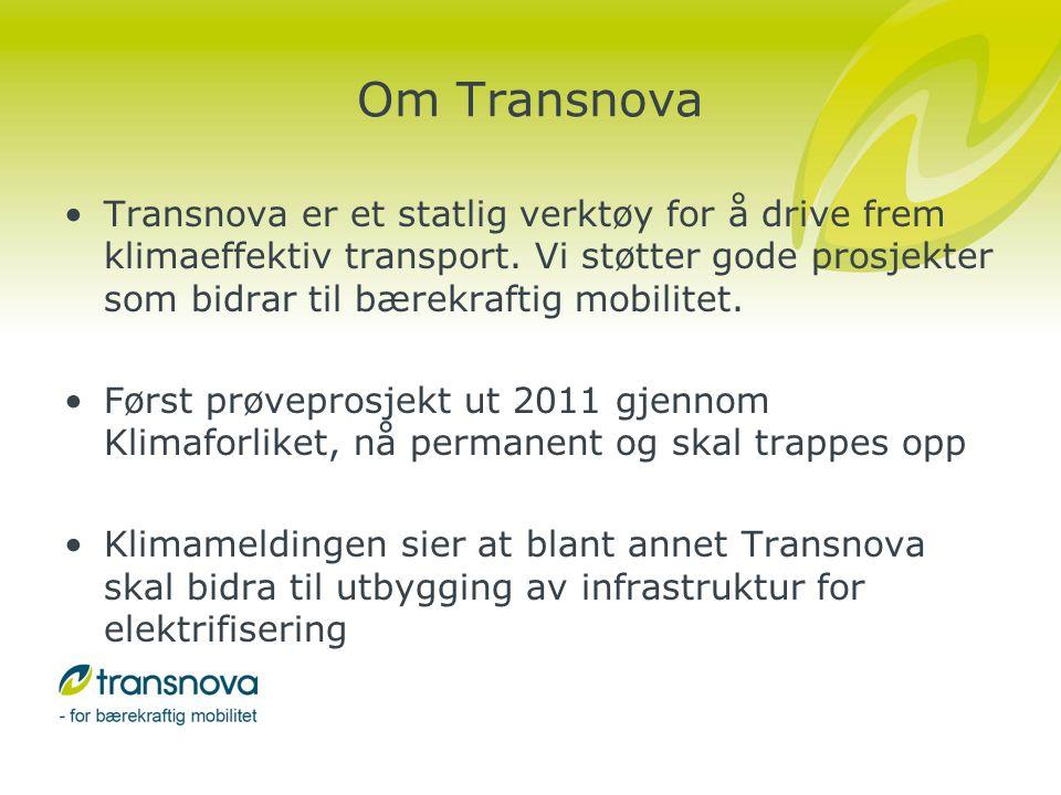 Status utbygging av normallading •Transnova har støttet 1815 ladepunkt med 43 millioner kroner •Programmet ble avsluttet i 2010 •Det er over 3100 ladepunkt i Norge i dag •nobil.no er en Transnova-finansiert database for alle ladepunkt i landet