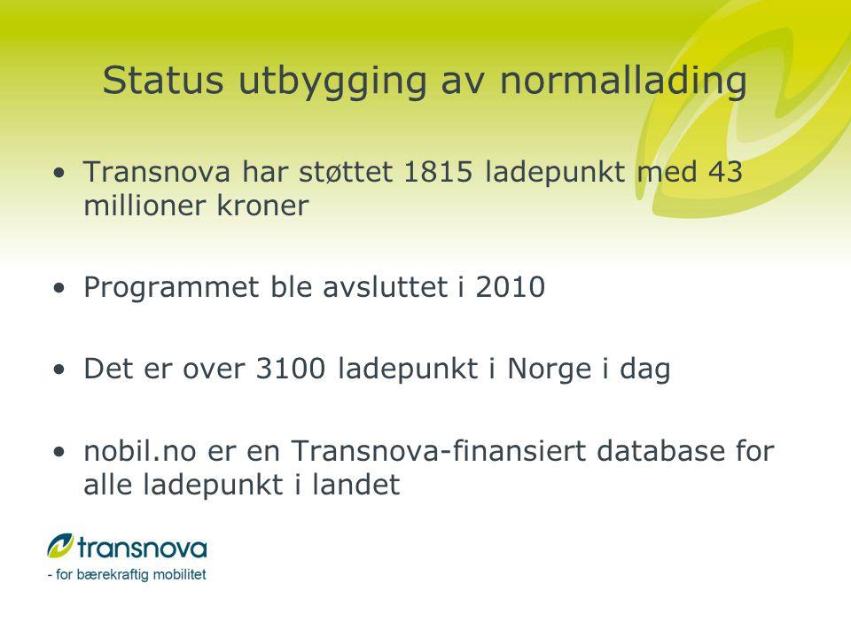 Hurtigladestrategier •Transnova fikk utarbeidet en nasjonal hurtigladestrategi, som går inn på disse temaene, og foreslår antall hurtigladere i ulike områder - http://www.transnova.no/hurtigladeutredningen http://www.transnova.no/hurtigladeutredningen •Østfold, Akershus, Oppland og Hedmark fylkeskommuner fikk utarbeidet en regional hurtigladestrategi.