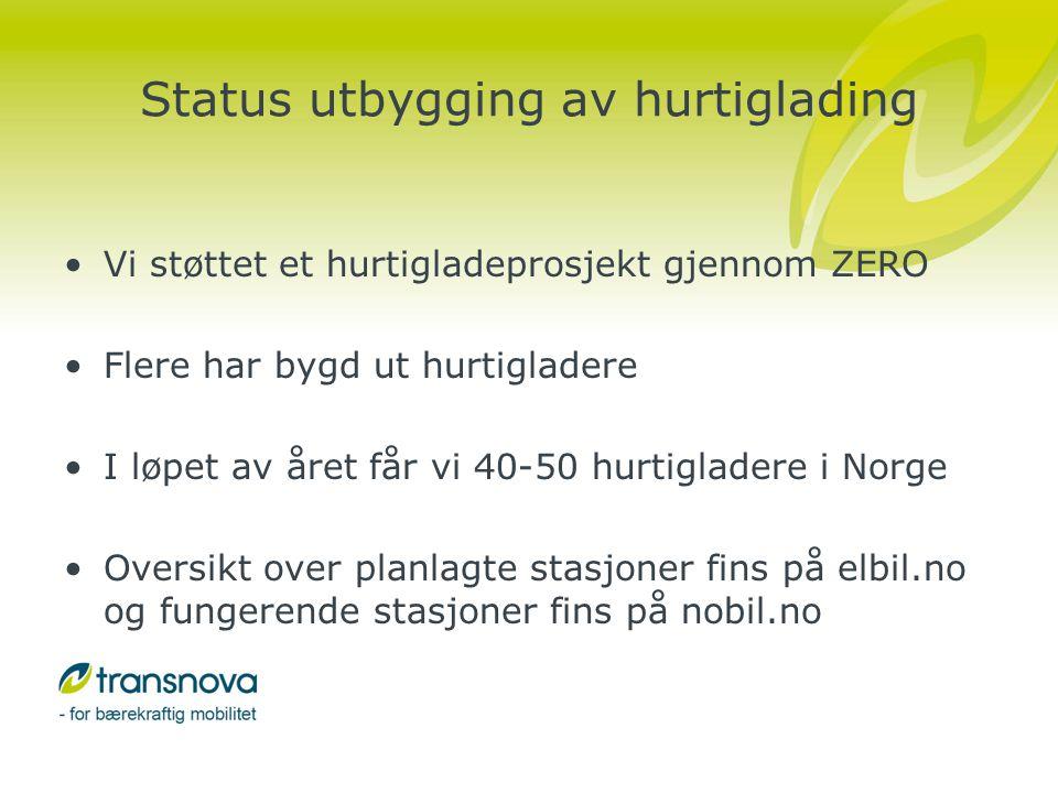 Status utbygging av hurtiglading •Vi støttet et hurtigladeprosjekt gjennom ZERO •Flere har bygd ut hurtigladere •I løpet av året får vi 40-50 hurtigladere i Norge •Oversikt over planlagte stasjoner fins på elbil.no og fungerende stasjoner fins på nobil.no