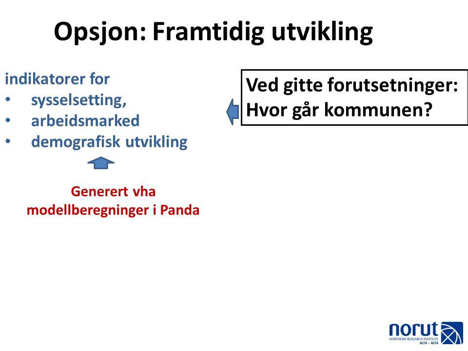 Opsjon: Framtidig utvikling indikatorer for • sysselsetting, • arbeidsmarked • demografisk utvikling Ved gitte forutsetninger: Hvor går kommunen? Gene