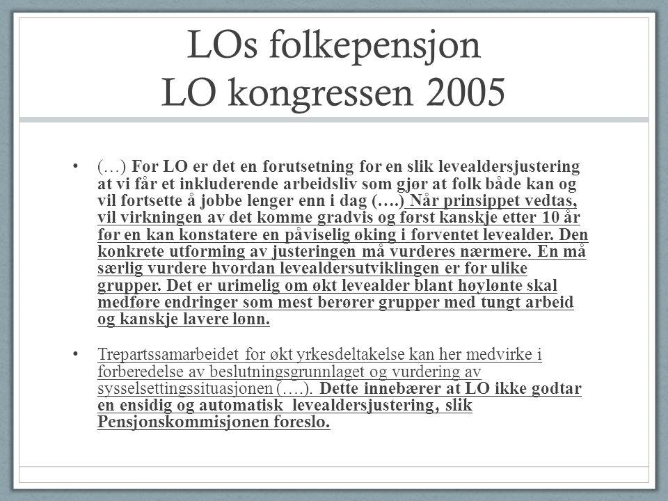 LOs folkepensjon LO kongressen 2005 • (…) For LO er det en forutsetning for en slik levealdersjustering at vi får et inkluderende arbeidsliv som gjør