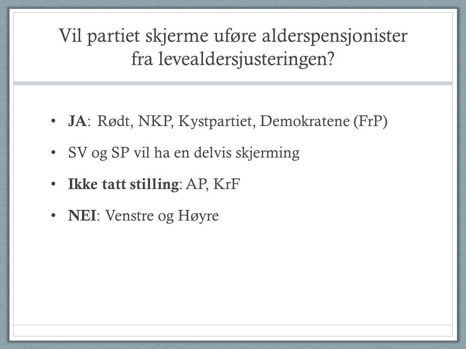Vil partiet skjerme uføre alderspensjonister fra levealdersjusteringen? • JA :Rødt, NKP, Kystpartiet, Demokratene (FrP) • SV og SP vil ha en delvis sk