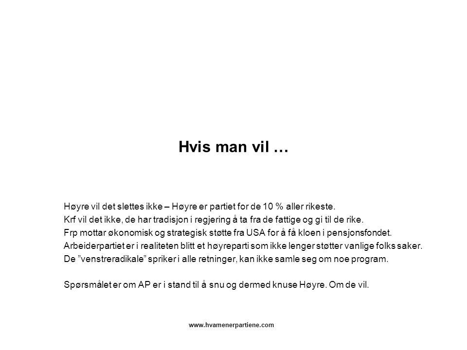 www.hvamenerpartiene.com Hvis man vil … Høyre vil det slettes ikke – Høyre er partiet for de 10 % aller rikeste. Krf vil det ikke, de har tradisjon i