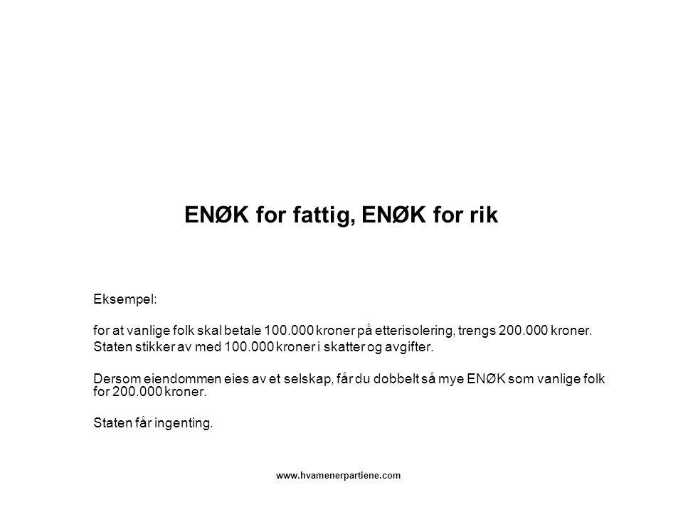 www.hvamenerpartiene.com ENØK for fattig, ENØK for rik Eksempel: for at vanlige folk skal betale 100.000 kroner på etterisolering, trengs 200.000 kroner.