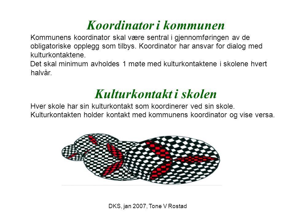DKS, jan 2007, Tone V Rostad Koordinator i kommunen Kommunens koordinator skal være sentral i gjennomføringen av de obligatoriske opplegg som tilbys.