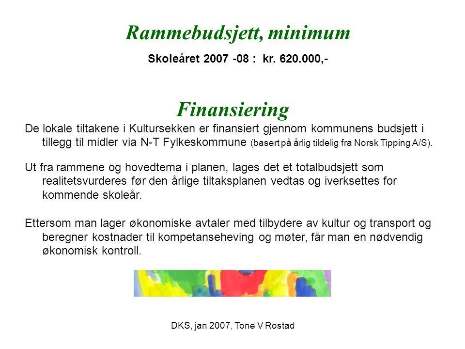 DKS, jan 2007, Tone V Rostad Rammebudsjett, minimum Skoleåret 2007 -08 : kr. 620.000,- Finansiering De lokale tiltakene i Kultursekken er finansiert g