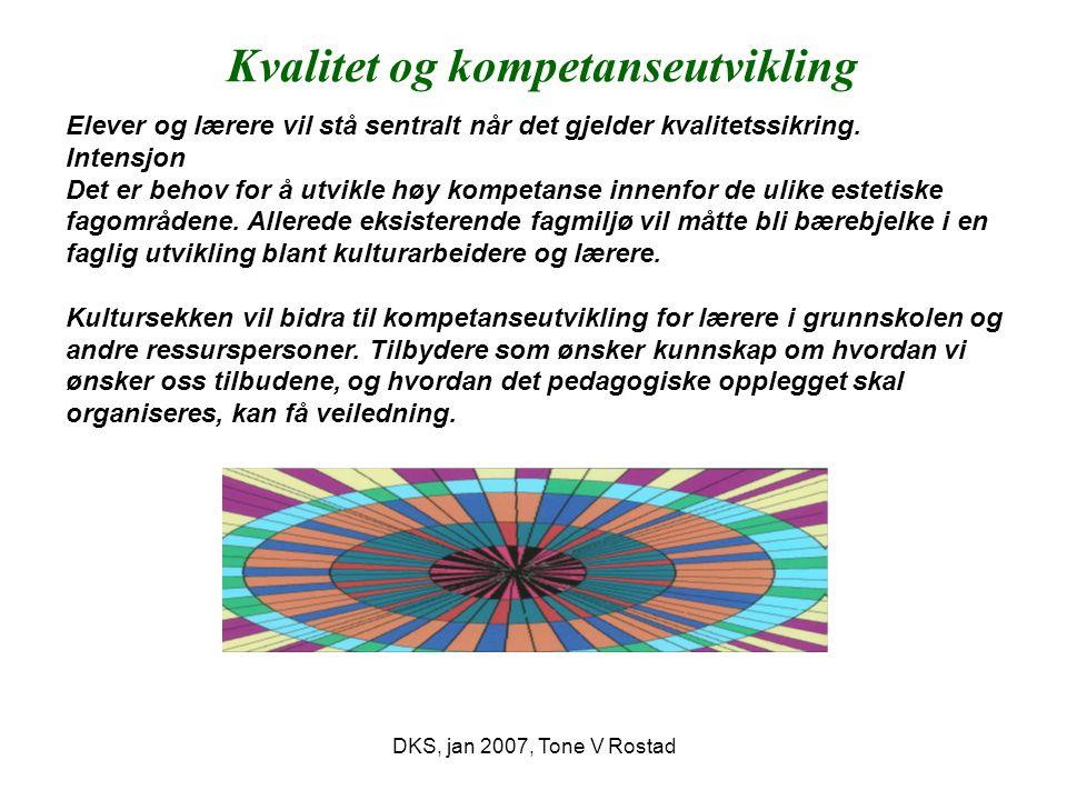 DKS, jan 2007, Tone V Rostad Årlig tiltaksplan utvikles med basis i kultursekkens tema.