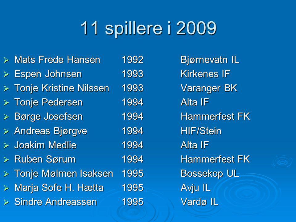 11 spillere i 2009  Mats Frede Hansen1992Bjørnevatn IL  Espen Johnsen1993Kirkenes IF  Tonje Kristine Nilssen1993Varanger BK  Tonje Pedersen1994Alt