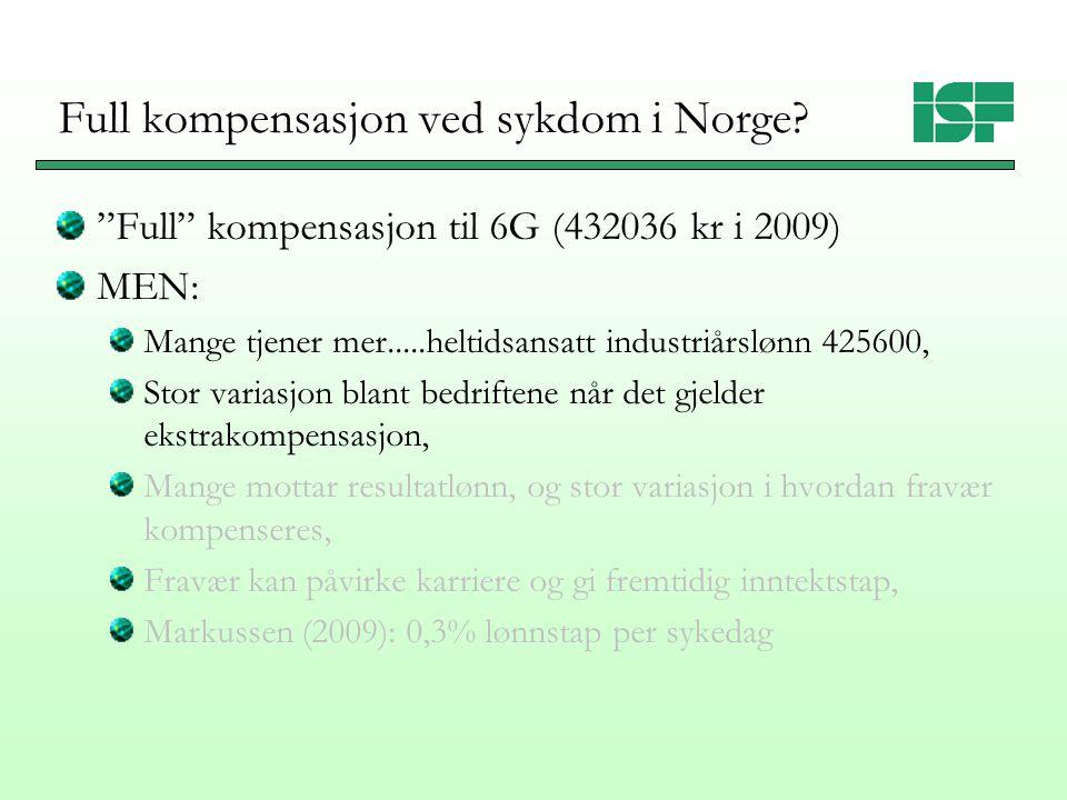 Variasjon i ekstra kompensasjon ved sykefravær Blekesaune og Dale-Olsen (2010) for 2003