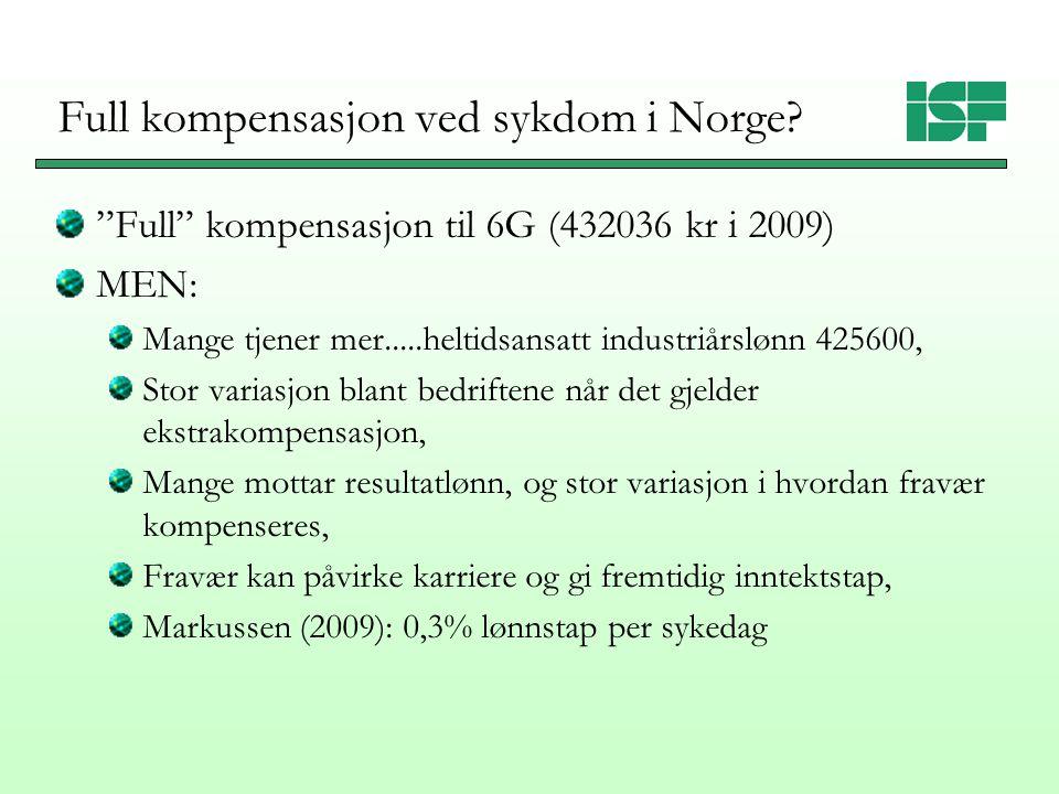 """Full kompensasjon ved sykdom i Norge? """"Full"""" kompensasjon til 6G (432036 kr i 2009) MEN: Mange tjener mer.....heltidsansatt industriårslønn 425600, St"""