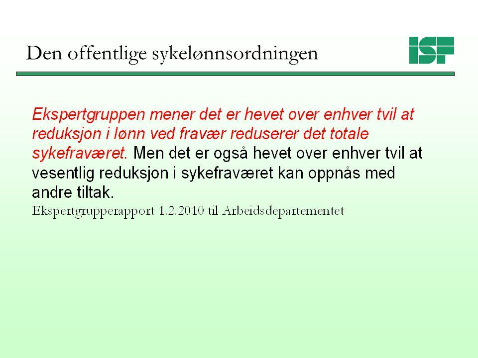 Insentiver gjennom den offentlige sykelønnsordningen Ziebarth og Karlsson (2009): Reform Tyskland 1996 (100→80%).